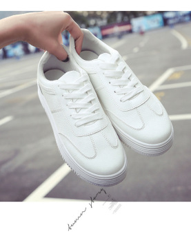 Wild leather solid color women shoes white shoes (All white)
