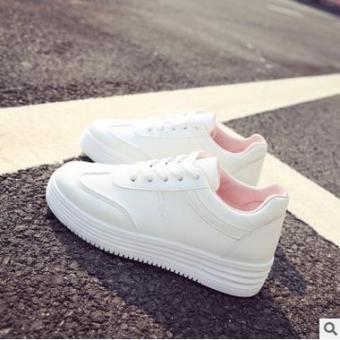 Wild leather solid color women shoes white shoes (Pink color)