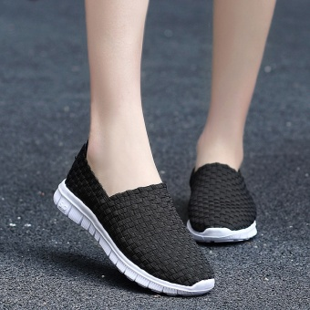 Wild soft bottom student mom casual shoes woven shoes (Black)