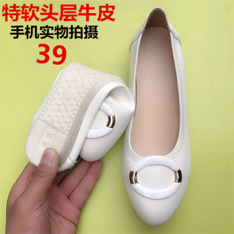 Wild spring New style shallow mouth flat shoes (White version1)