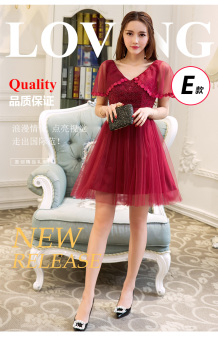Wine red color spring New style bridal wedding dress (Wine red color 5)