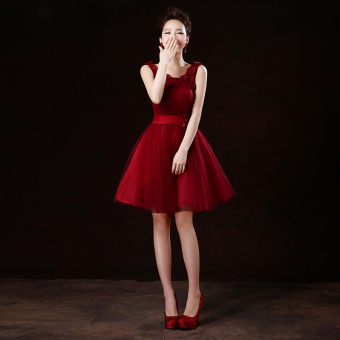 Wine red color wedding banquet performance dress wedding dress (Wine red color shoulder flowers version1)