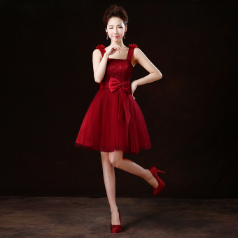 Wine red color wedding banquet performance dress wedding dress (Wine red color strap flowers)