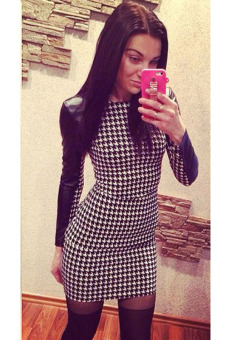 Winter Bodycon Long Sleeve Plaid Print Dress (Black) - picture 2