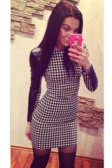 Winter Bodycon Long Sleeve Plaid Print Dress (Black)