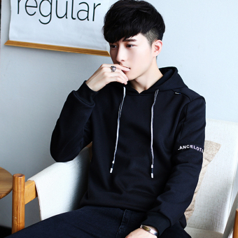 Winter men's long-sleeved hooded hoodie T-shirt (Black)