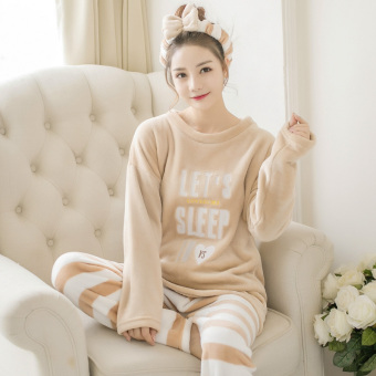 Winter thick coral velvet pajamas (Brown lettered (Long Version))