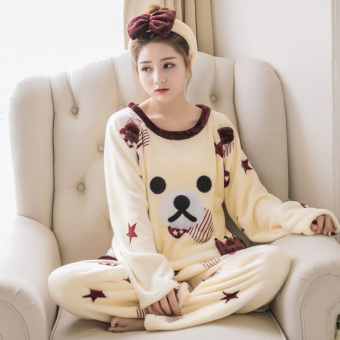 Winter thick coral velvet pajamas (Five-star bear)