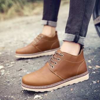 Winter Warm Plush Men's Leather Martin Boots Men Waterproof Snow Boots Leisure Short Boots Retro Shoes For Men (Brown) - intl