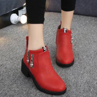 WithMe Women 's Martin Boots Casual Fashion Women Boots (Red) -intl