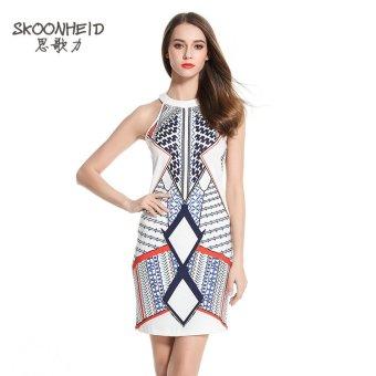 Woman Summer Multicolour Mini Fashion Print Dress - White - 3