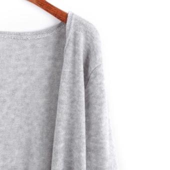 Woman Sweater Pocket Knit Cardigan Jacket-Black - intl - 5