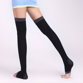 Woman Varicose Veins Sock Stovepipe Stockings Sleeping Slimming Socks (Black)
