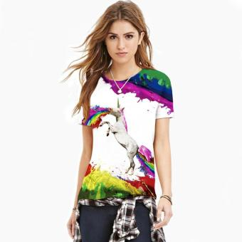 Women 3D Rainbow Unicorn Printed T-shirt Round Neck Short-sleeved