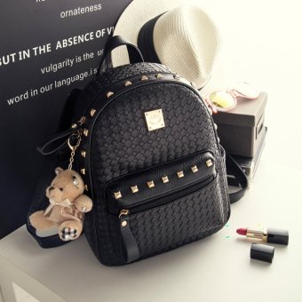 Women Backpack Female Korean Minimalist Rivet Bag AcademyGirl BackPack Student Bag (Silver / Small Size) Price Philippines