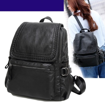 Women Backpack Genuine Goat Leather Casual School Grils BagsShoulder Bag for Lady - intl