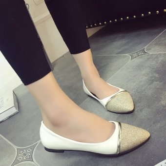 Women Ballet Flats Summer Rubber Flats Slippers Lady's Point Toe OL Casual Shoes Wedding Party Shoes ( Gold ) - intl