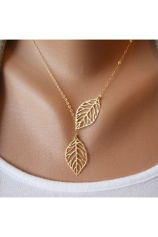 Women Big Leaves Clavicle Pendant Neck Gold - picture 2
