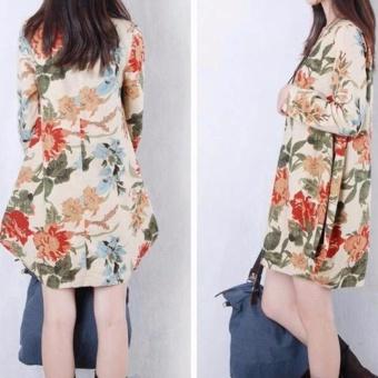 Women Bohemian Printed V-neck Beach Waist Chiffon Dress High WaistLong Sleeve Strap Vestidos - intl - 2