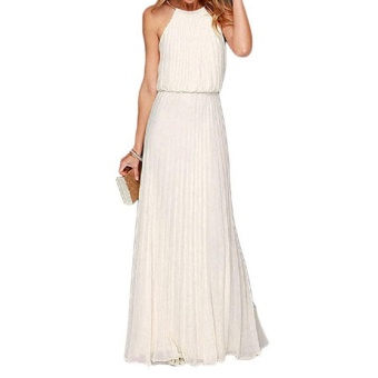 Women Bohemian Style Pleated Long Dresses Sleeveless Halter Sexy Formal Dress Fashion Clothes(White) - intl