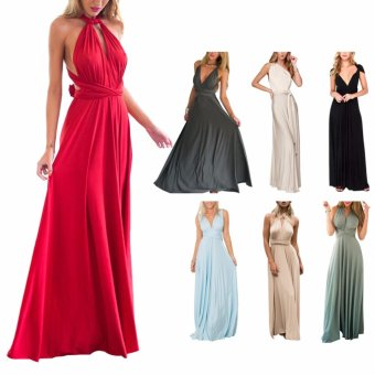 Women Boho Maxi Dress Red Bandage Long Dress Multiway BridesmaidsConvertible Dress Robe Longue Femme(Green) - intl - 4