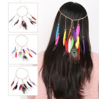Women Boho Style Feather Headband Headdress Tribal Party Vacation Hair Rope Headpieces Hippie Headwear #1 - intl - 4