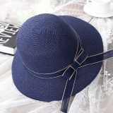 Women Bowknot/Ribbon Foldable Suncreen Breathable Straw Hat (M) - intl