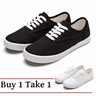 Women Canvas Sneakers Shoes Buy 1 Take 1 - Black and White
