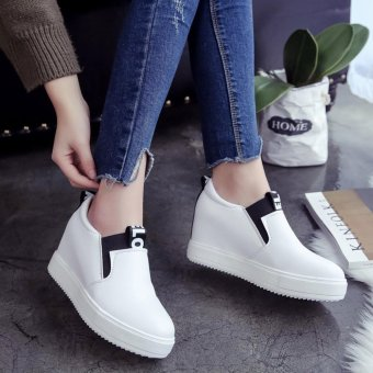 Women Casual Shoes High Tops Breathable Wedges Platform WomanSummer Autumn High Heel Wedge Boots - intl