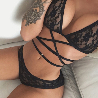 Women Charm Sexy Black Lace Up Bikini Set Bra Underwear SuitLingerie Set Black - 2