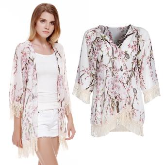 Women Chiffon Kimono Cardigan Lace Blouse Floral - Intl - 5