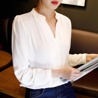 Women Chiffon Shirts Ladies Long Sleeve Casual White Blouse Tops - intl