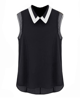 Women Chiffon Sleeveless Shirt Black