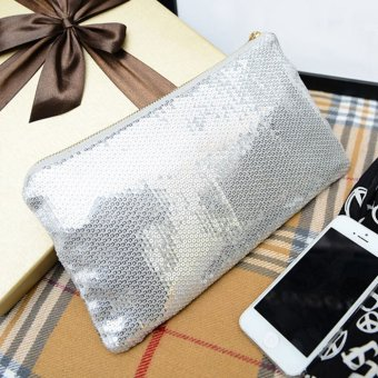 Women Clutch Dazzling Sequins Handbag Silver - picture 2