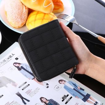 Women Coin Card Purse Zipper Short Wallet Pouch Black - intl