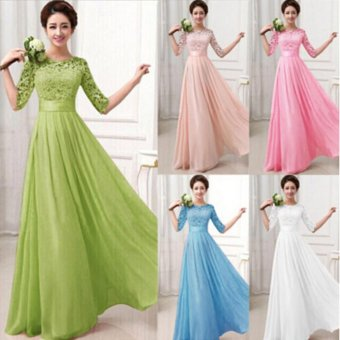 Women Crochet Lace 1/2 Sleeve Tunic Bridesmaid Formal Gown Party Maxi Chiffon Long Dress (Blush Pink) - intl - 4