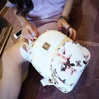 Women Cute School Bags Backpack Mini 2016 Fashion Back Pack Floral Printing Black Small PU Leather Backpack For Teenagers Girls - intl - 4