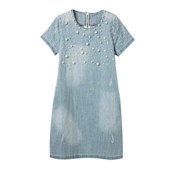 Women Denim Dress New Summer Dresses Plus Size 5XL Casual WomenDresses Jeans O Neck Beading Vestidos - intl