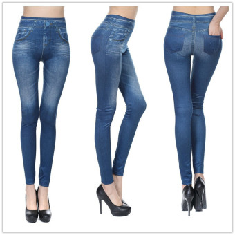 Women Denim Skinny Pants High Waist Stretch Jeans Slim PencilTrousers