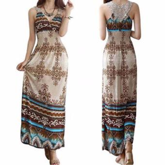 Women Dress Floral V-Neck Beach Bohemian Maxi Dress Long Dress - intl