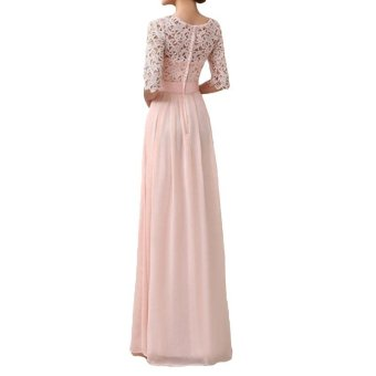 Women Dress Lace Chiffon Half Sleeve Slim Maxi Long Gown Elegant Princess Evening Party One-Piece - intl - 5