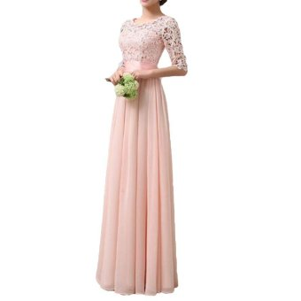 Women Dress Lace Chiffon Half Sleeve Slim Maxi Long Gown Elegant Princess Evening Party One-Piece - intl - 2