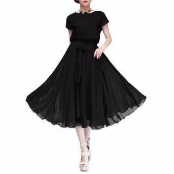 Women Dress Party Ball Chiffon Dress Long Casual Dress with Belt(Black) - intl