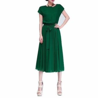 Women Dress Party Ball Chiffon Dress Long Casual Dress with Belt(Green) - intl