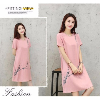 Women Elegant Plus Size A-Line Dress Linen Floral Working Casual Short Sleeve Solid Color Skirts (pink) - intl - 4