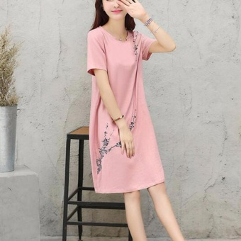 Women Elegant Plus Size A-Line Dress Linen Floral Working Casual Short Sleeve Solid Color Skirts (pink) - intl - 5