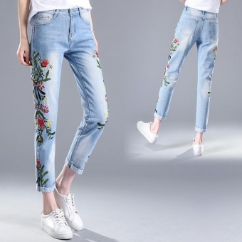 Women Embroidered Jeans Distressed Cropped Jeans Flower Pants Off White Skinny Female Jeans Korean Slim Nine Pants Trousers - intl