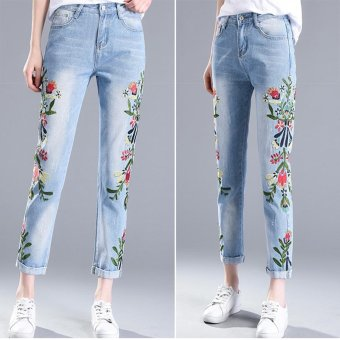 Women Embroidered Jeans Distressed Cropped Jeans Flower Pants OffWhite Skinny Female Jeans Korean Slim Nine Pants Trousers - intl