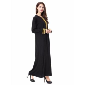 Women Ethnic Pure Color Muslim Islamic Long Sleeve Maxi Dress Arab Jilbab Abaya Cloth(Gold) - intl - 4