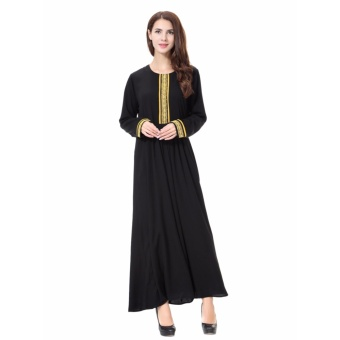 Women Ethnic Pure Color Muslim Islamic Long Sleeve Maxi Dress Arab Jilbab Abaya Cloth(Gold) - intl - 2